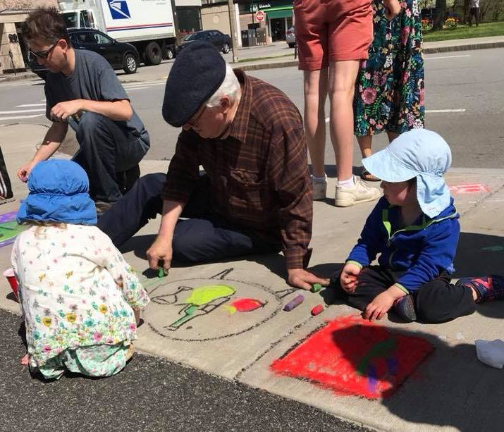 Sidewalk Sam and Kids coloring