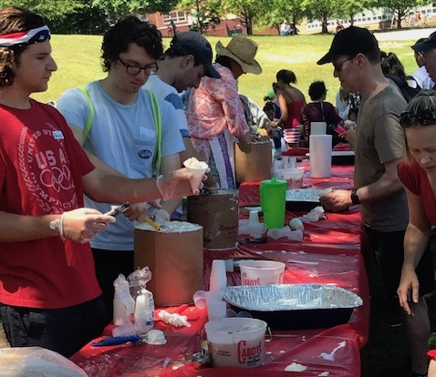 Volunteers serving Cabots ice cream