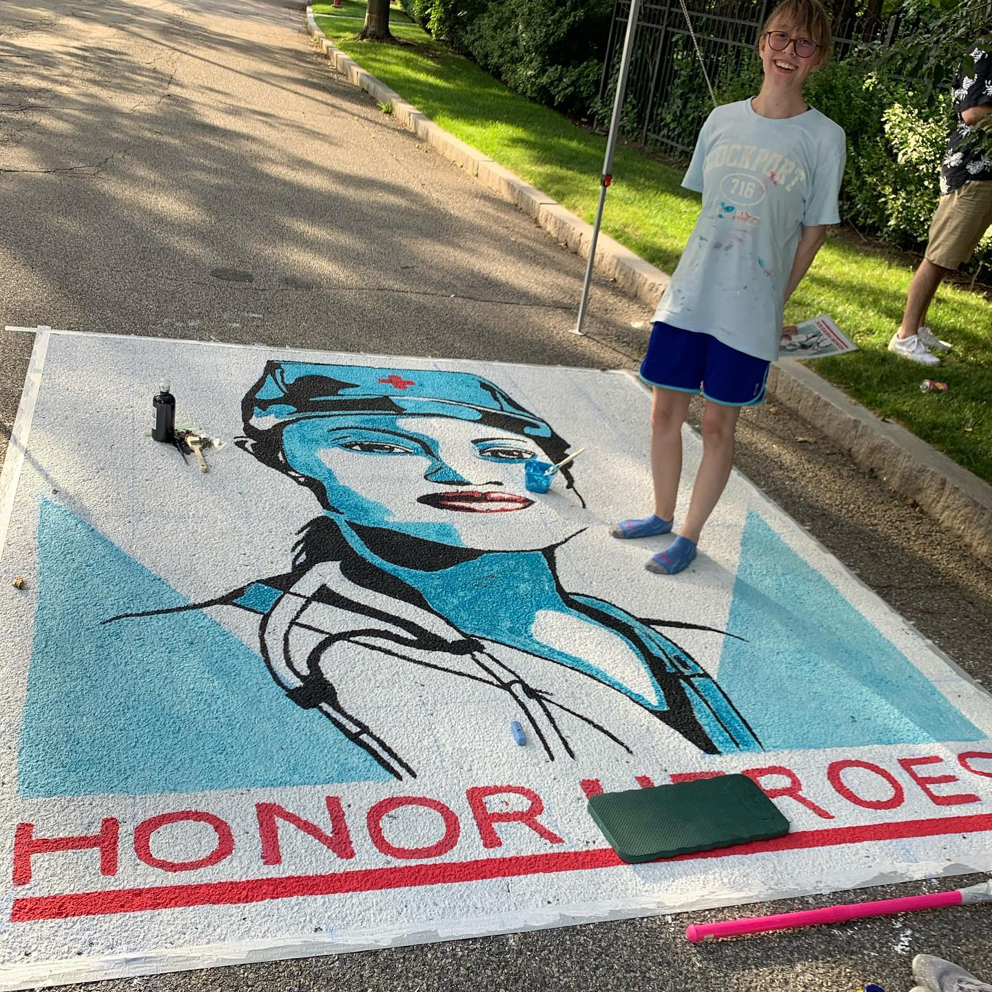 Chalk art-Honor the Heroes