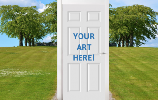 """Your Art Here"" written on a door"