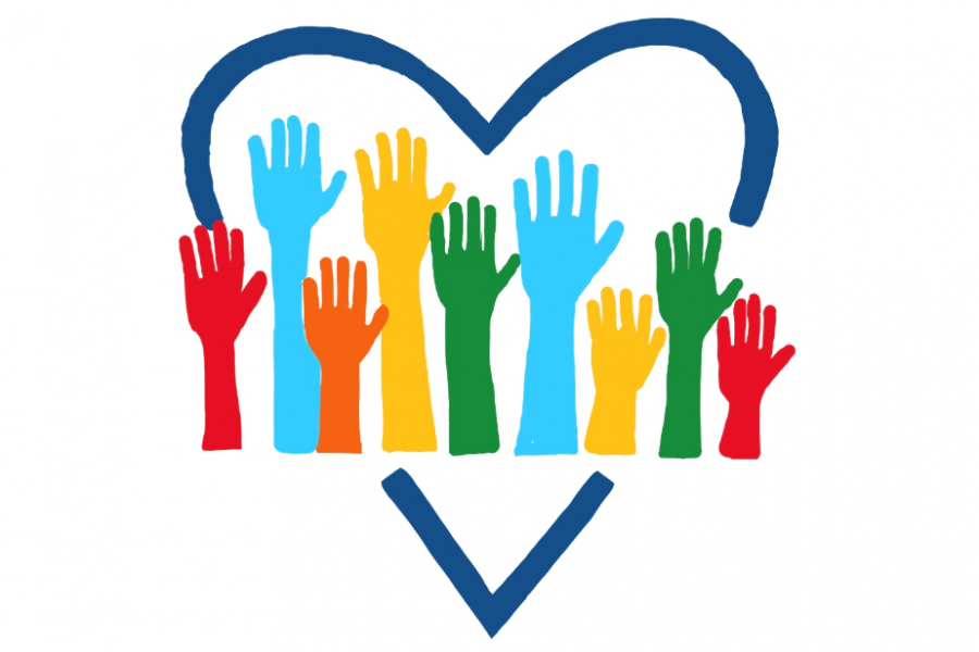 Colorful hands in a heart