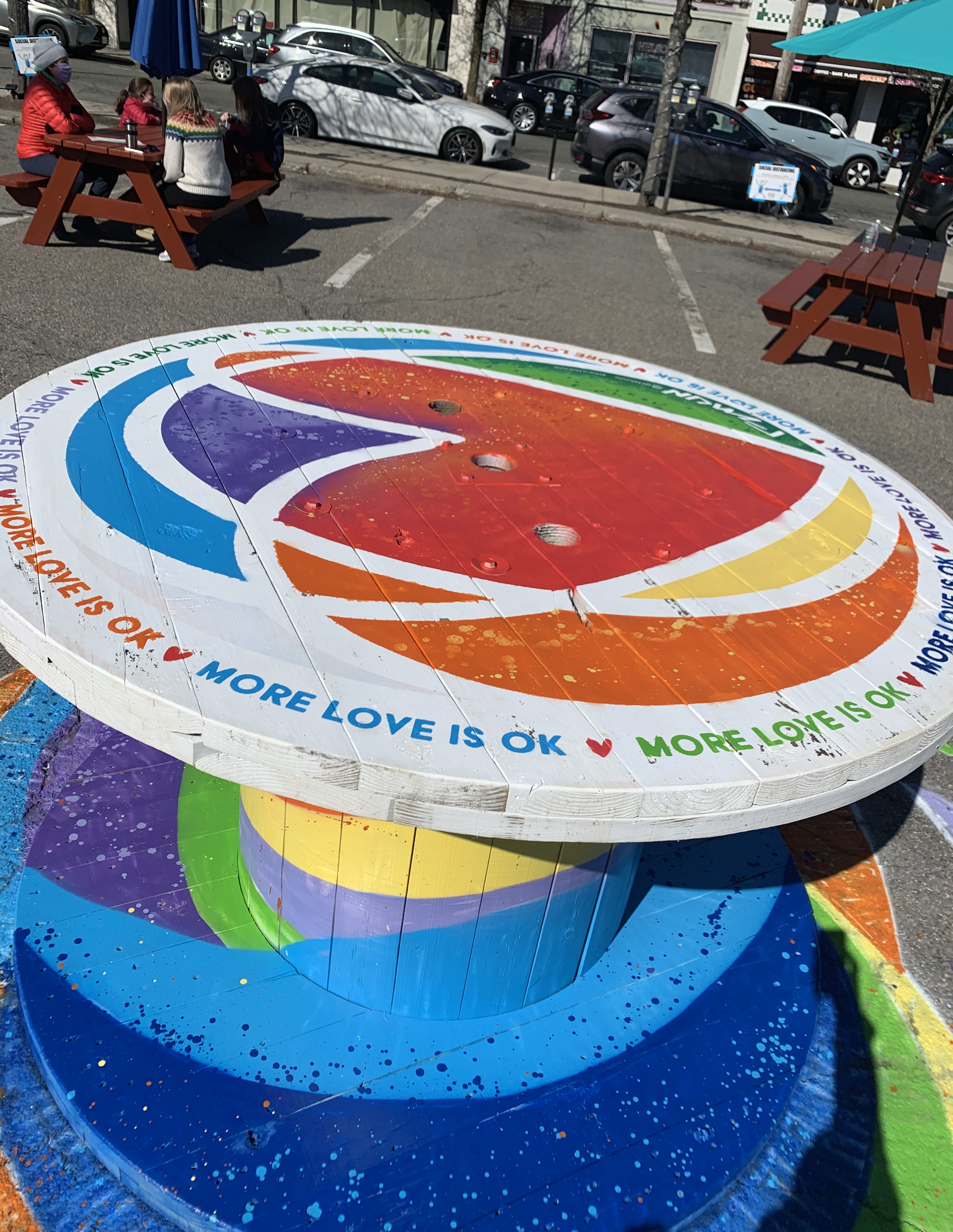 Colorful table with heart in center