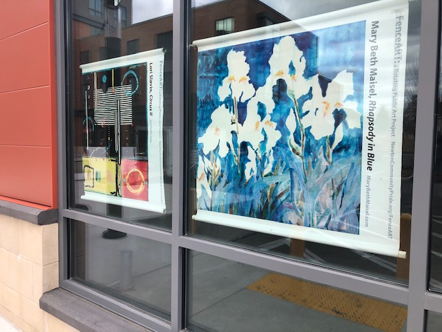 white flowers with blue background poster in window