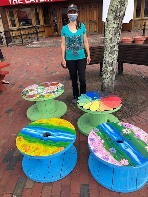 Bench with two painted tables