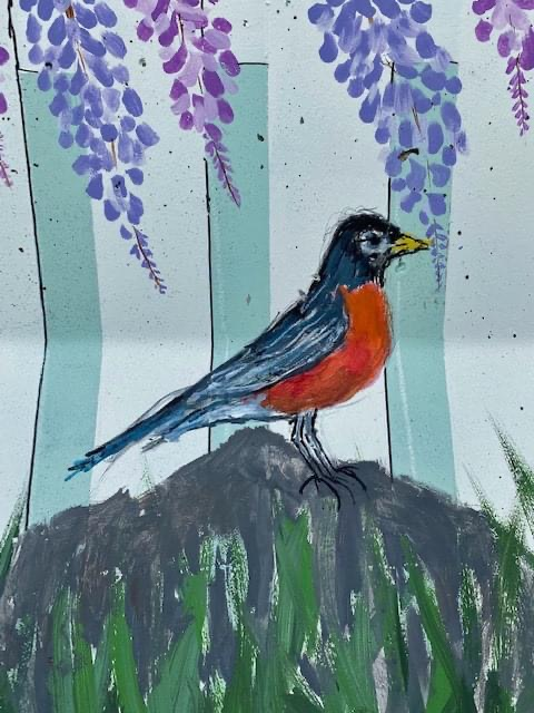Close up of Painted Robin with Red Breast on the Painted Barrier