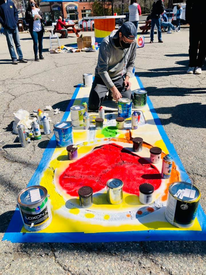 Franklin Painting the hopscotch