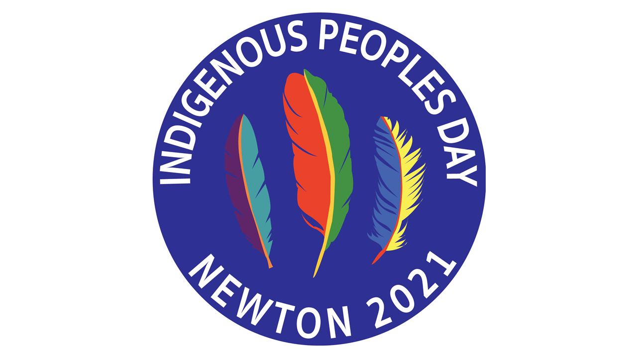 Blue Circle, Three Colored Feathers, Indigenous Peoples Day