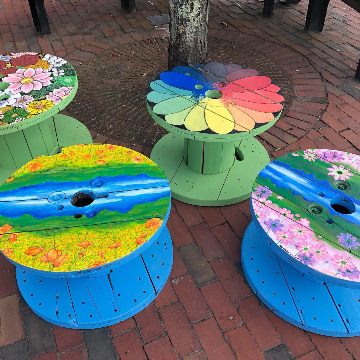 painted cable tables