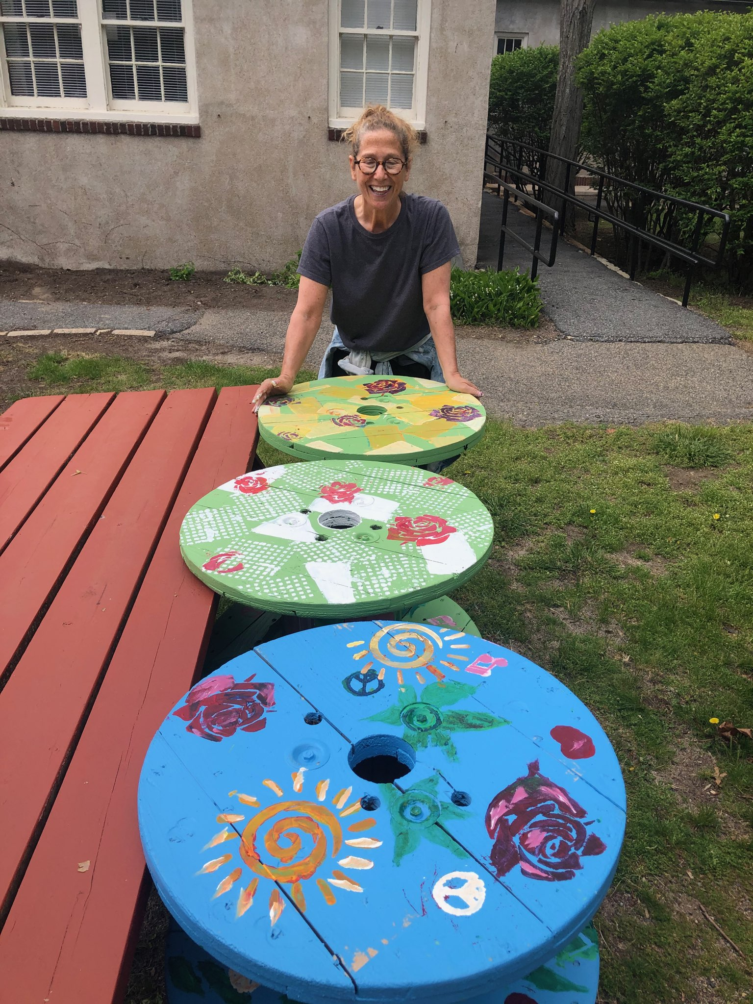 Artist with Painted tables