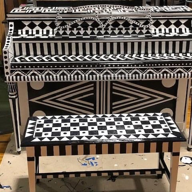 Black and White Patterned Piano