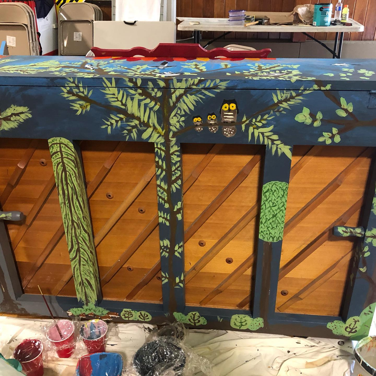 Tree Painted on back of piano