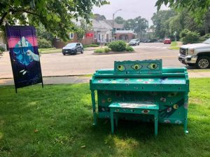 Green Piano With Eyes